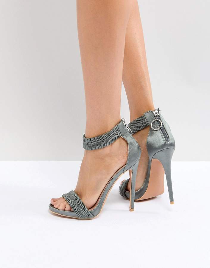 Lost Ink Grey Ruched Heeled Sandals