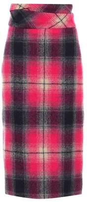 Dries Van Noten High-rise checked wool midi skirt