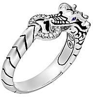 John Hardy Women's Legends Naga Sterling Silver, Diamond Pavé & Blue Sapphire Dragon Head Ring