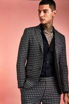 BoohoomanBoohooMAN Mens Black Monochrome Check Skinny Fit Suit Jacket, Black