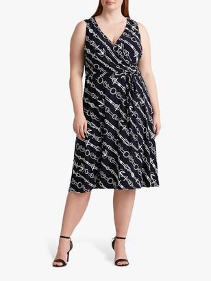 Ralph Lauren Ralph Curve Carana Sleeveless Abstract Graphic Print Shirt Dress, Navy/Cream
