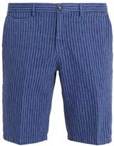 Altea Striped straight-leg cotton and linen-blend shorts