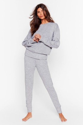 Nasty Gal Womens You Time Knitted Jumper and Joggers Lounge Set - Grey - S