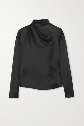 Brandon Maxwell Draped Silk-charmeuse Top - Black