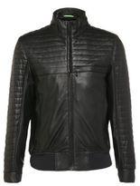 Hugo Boss Jalon Quilted Leather Bomber Jacket L Black