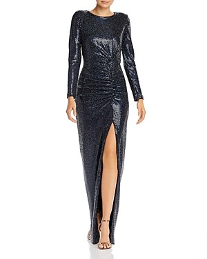 Avery G Hologram Long-Sleeved Gown