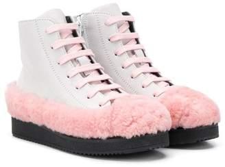 Marni faux fur detail ankle boots
