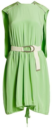 Tibi Eco Belted Cape Silk Mini Dress
