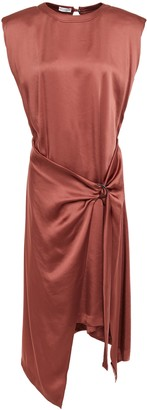 Brunello Cucinelli Draped Bead-embellished Satin-crepe Dress
