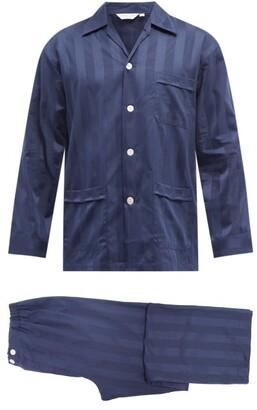 Derek Rose Lingfield Jacquard-stripe Cotton Pyjamas - Navy