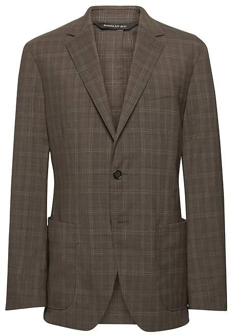 Banana Republic Standard Plaid Smart-Weight Performance Wool Blend Suit Jacket