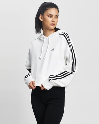 adidas Women's White Hoodies - Cropped Hooded Sweatshirt - Size 6 at The Iconic