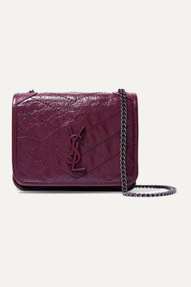 Saint Laurent Niki Mini Quilted Crinkled-leather Shoulder Bag - Burgundy