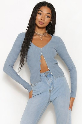 boohoo Pearl Button Rib Knit Cardigan