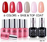 "Perfect Summer Gel Nail Polish UV/LED Soak Off, ""Spring Garden"" Pure Colors Set with Clear Base Coat and Top Coat - Pack of 8, 8ml Each (Starter Kit #14)"