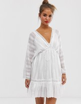 Asos Design DESIGN lace insert mini smock dress with lace up detail