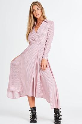 Little Mistress Curvy Aves Stripe Maxi Shirt Dress