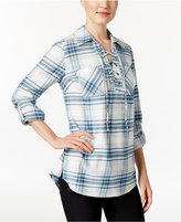 Style&Co. Style & Co. Lace-Up Plaid Top, Only at Macy's