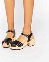 Swedish Hasbeens Black Leather Marina Platform Sandals
