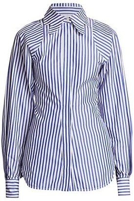 Victoria Beckham Butterfly Collar Striped Shirt