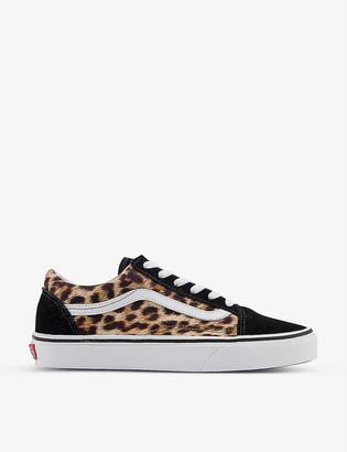 Vans Old Skool leopard-print suede and textile trainers