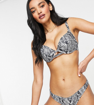 Wolfwhistle Wolf & Whistle Fuller Bust Exclusive underwire bikini top in snake print