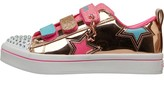 Skechers Girls Twinkle Toes Twi-Lites Iridescent Triple Strap Trainers Gold/Pink