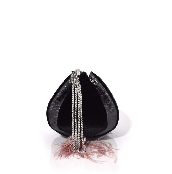 THE VOLON Cindy Feather Bag in Velvet Black