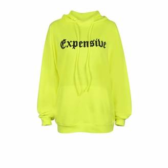 Ni Ka Shirts Ni_ka Women Fashion Letter Print Pocket Hoodie Oversize Loose Tops Blouse Sweatshirt(Green S)