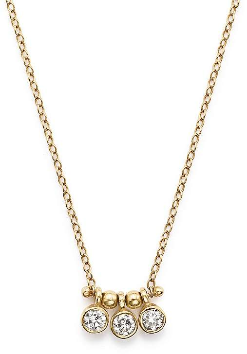 Chicco Zoë 14K Yellow Gold and Diamond Bezel-Set 3 Necklace, 16""