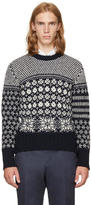 Thom Browne Navy Classic Snowflake Fair Isle Crewneck Pullover