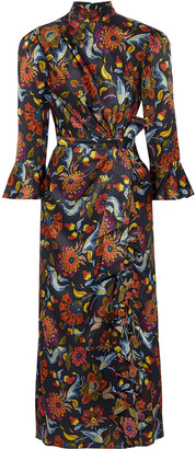 Cinq à Sept Juliana Knotted Printed Silk-charmeuse Midi Dress