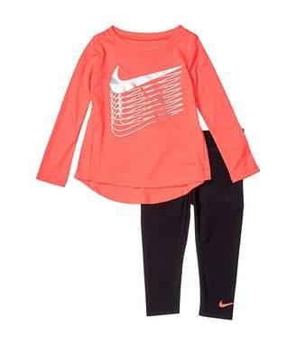 Nike Dri-FITtm Shine T-Shirt and Leggings Two-Piece Set (Toddler) (Black) Girl's Active Sets