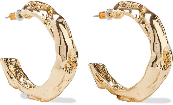 Kenneth Jay Lane Hammered Gold-plated Hoop Earrings