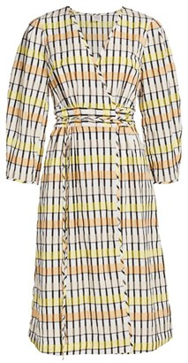 Baum und Pferdgarten Dance Abylene Gingham Puff-Sleeve A-Line Wrap Dress