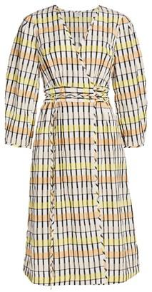 Baum und Pferdgarten Dance Abylene Gingham Puff-Sleeve A-Line Wrap Dress