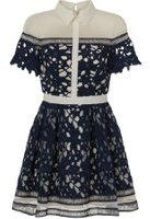 Dorothy Perkins Womens *Chi Chi London Petite Navy Laser Cut Mini Dress- Navy