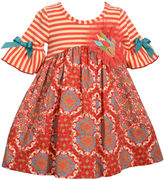 Bonnie Jean Elbow Sleeves Turkey Dress With Bow Dress - Baby Girls