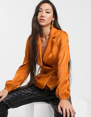 Glamorous tailored blouse with tie front in luxe satin