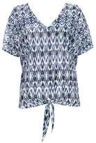 Wallis Petite Blue Aztec Tie Front Top