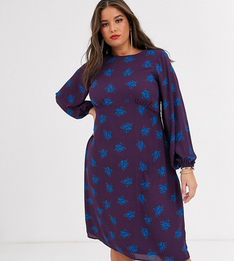 Fashion Union Plus long sleeve tea dress in purple floral