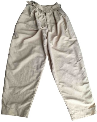Non Signé / Unsigned Non Signe / Unsigned Oversize Beige Cloth Trousers for Women