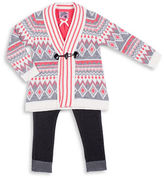Little Lass Girls 2-6x Three-Piece Intarsia Sweater, Top and Leggings Set