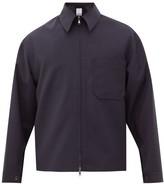 Deveaux - Patch Pocket Technical-crepe Jacket - Mens - Navy