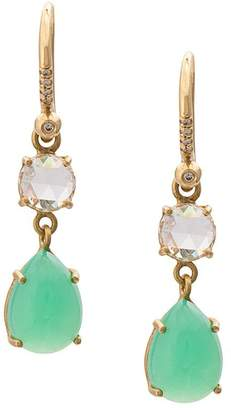 Irene Neuwirth 18kt yellow gold diamond and chrysoprase teardrop earrings