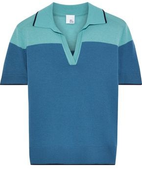 Iris & Ink Maple Two-tone Merino Wool Polo Shirt