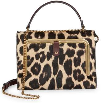 Anya Hindmarch Leopard-Print Calf Hair Top Handle Box Bag