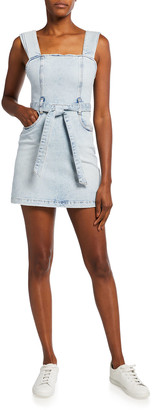 Alice + Olivia Jeans Gorgeous Pleated-Strap Denim Dress