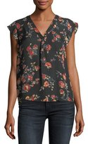 Joie Jentri Floral-Print Short-Sleeve Silk Top