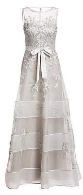 Teri Jon by Rickie Freeman Women's Embroidered Floral Tulle Gown